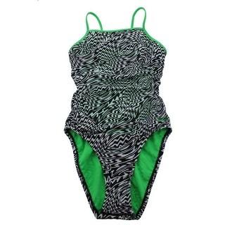 Speedo Womens Printed Hi-Cut Monokini Swimsuit - 12
