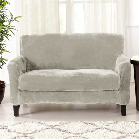 Great Bay Home 2 Piece Velvet Plush Stretch Love Seat Slipcover