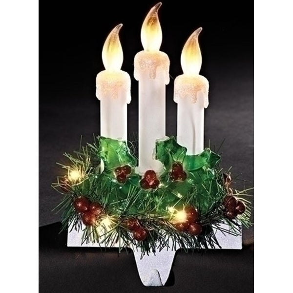 """8.5"""" Three Candles with Holly Decorative Christmas Flickering LED Stocking Holder"""