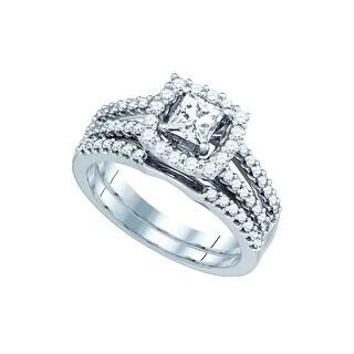 1 Ctw Diamond 3/8Cpr Bridal Set White-Gold 14K