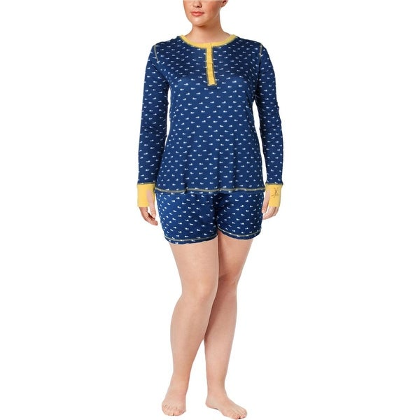 39645845205e5 Shop Munki Munki Womens Teeny Whales Pajama Set 2PC Henley - XxL - Free  Shipping On Orders Over $45 - Overstock - 18657363