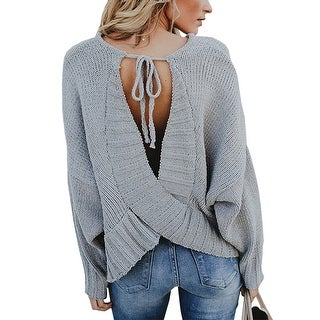 QZUnique Women's Sexy Cross Backless Loose Knit Pullover Lace up Long Sleeves Sweater Jumper Tops