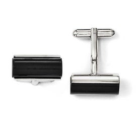 Chisel Stainless Steel Black Agate Polished Cuff Links