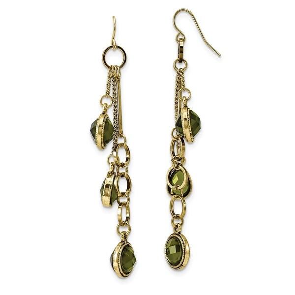 Brass Green Crystal Teardrop Post Dangle Earrings