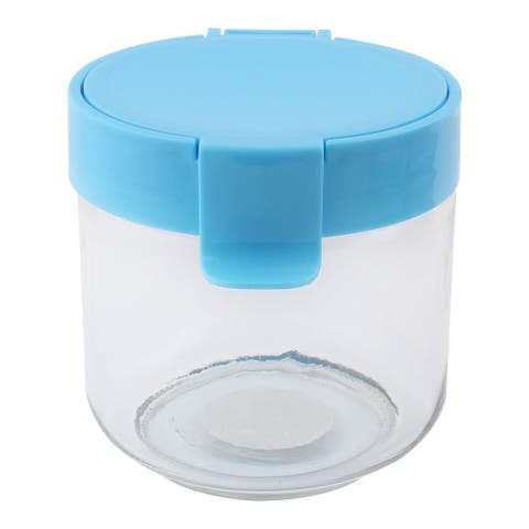 "Glass Family Airtight Seal Tea Leaf Food Storage Canister 730ML Blue - 11 x 12cm/ 4.3"" x 4.7""(D*H)"