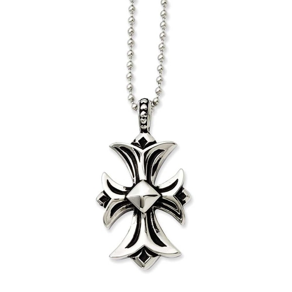 Stainless Steel Antiqued Fancy Cross Pendant 22in Necklace (2 mm) - 22 in
