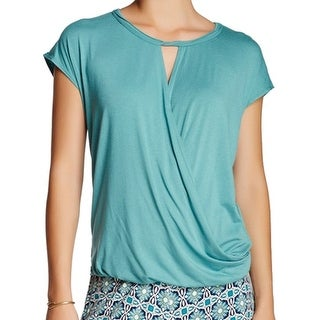 Max Studio NEW Blue Women's Size XL Wrap-Front Keyhole Solid Seamed Blouse