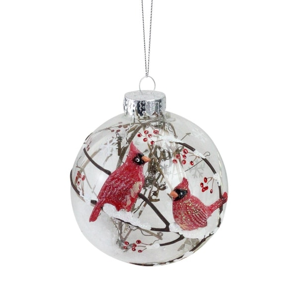 "Branch and Snow Filled Glass Ball Ornament with Red Cardinals Christmas Ornament 4"" (100 mm) - CLEAR"