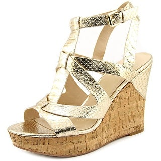 Guess Harlea Women Open Toe Synthetic Gold Wedge Sandal