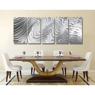 Statements2000 Large Silver Metal Wall Art Panels Sculpture by Jon Allen - Hypnotic Sands 5P XL