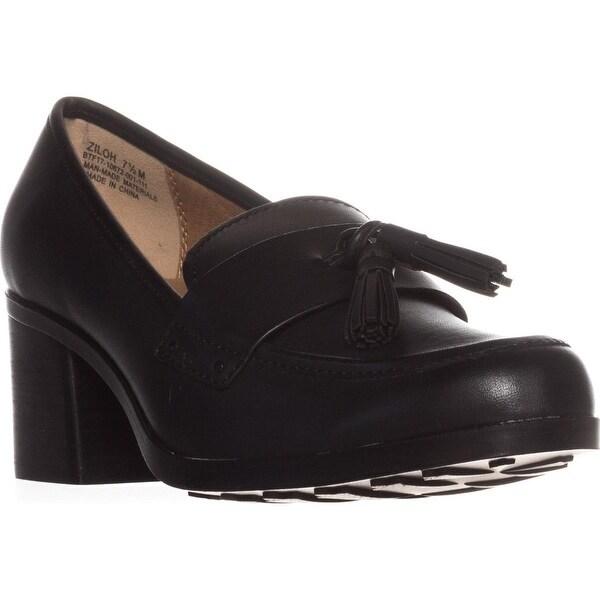 BareTraps Ziloh Tassel Loafer Heels, Black
