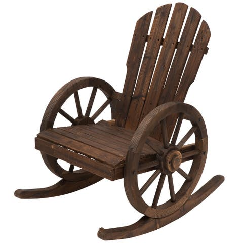Outsunny Adirondack Rocking Chair with Slatted Design and Oversize Back for Porch, Poolside, or Garden Lounging