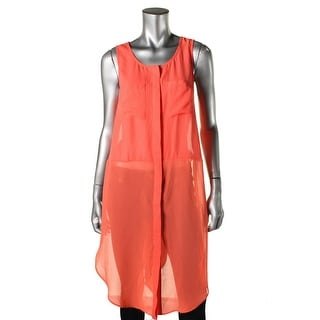 Lush Womens Tunic Top Sheer Sleeveless