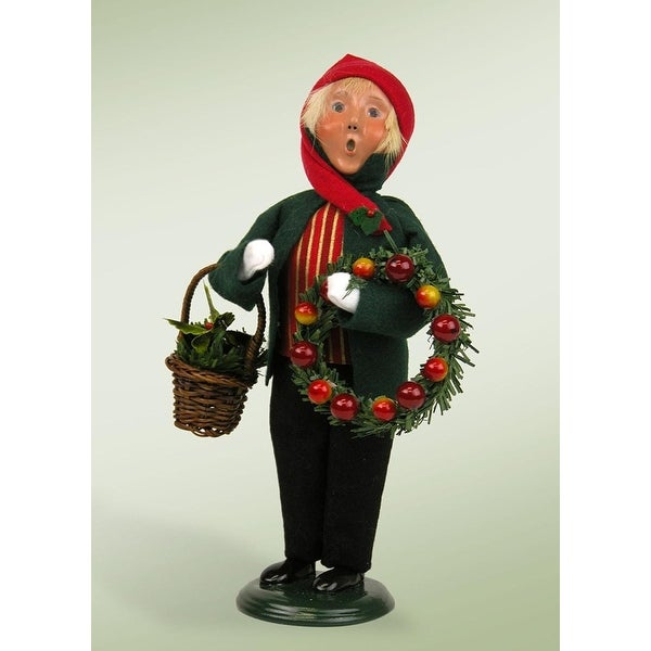 "9.75"" Festive Seasons Boy with Wreaths Crier Christmas Figure"