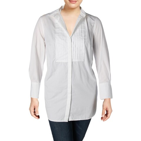 Lauren Ralph Lauren Womens Plus Button-Down Top Poplin Bib