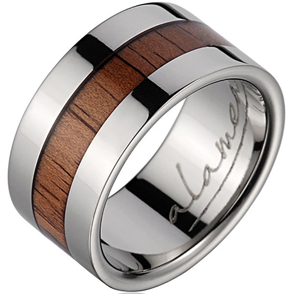 Titanium Wedding Band With Koa Wood Inlay & Wide Edges 10 mm