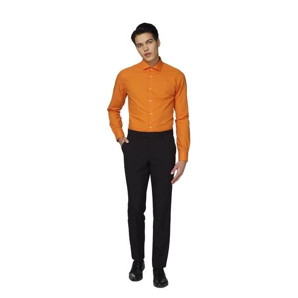 Orange Solid Classic Men Adult Slim Fit Shirt - 4XL - xxx-large