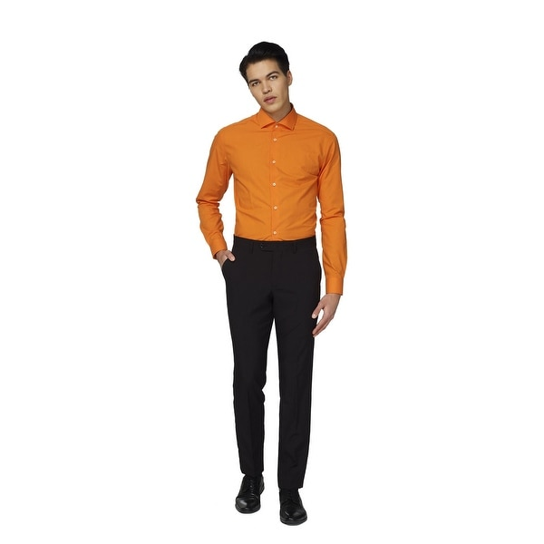 Orange Solid Classic Men Adult Slim Fit Shirt - Extra Large - x-large