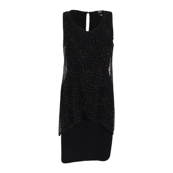 d4187885e6 S.L. Fashions Women's Plus-Size Sleeveless Glitter-Detail Dress -  Black/gold - 20W