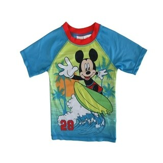 Disney Little Boys Green Blue Mickey Mouse Print UPF 50+ Rash Guard