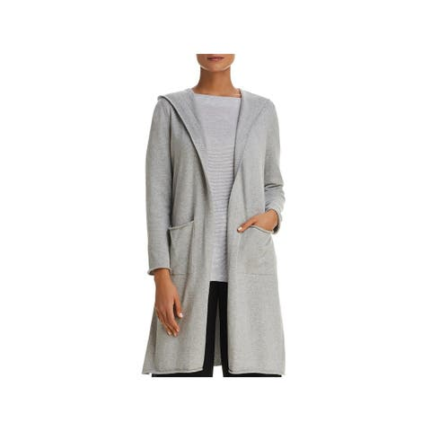 be628eba7d3 Eileen Fisher Womens Cardigan Sweater Open Front Hooded - L