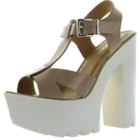 Soda Womens Lab T-Strap Lug Sole Platform Chunky Heel Dress Sandals - dark beige patent