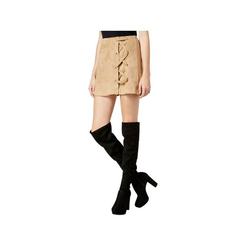 Kensie Womens Mini Skirt Faux Suede Lace-Up