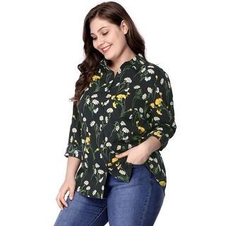 Women's Plus Size Long Sleeve Button Down Floral Print Shirt - Black
