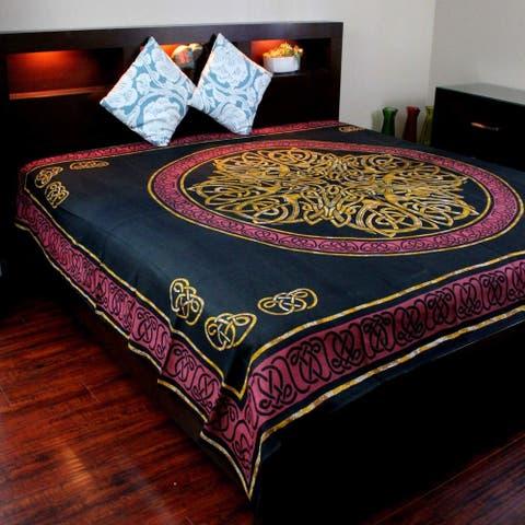 Cotton Celtic Circle Wheel of Life Tapestry Wall Hanging Bedspread Queen Red Black Twin, Full, King