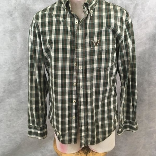 27ebdbc0b5 Shop American Eagle Mens shirt green brown plaid long sleeve Size S - Free  Shipping On Orders Over $45 - Overstock - 23020615