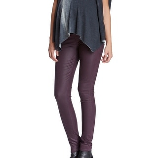 Paige NEW Purple Women's Size 24X25 Skinny Coated Maternity Jeans