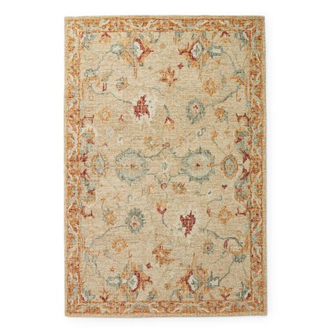 Alexander Home Transitional Floral Mosaic Hand-Hooked 100% Wool Rug