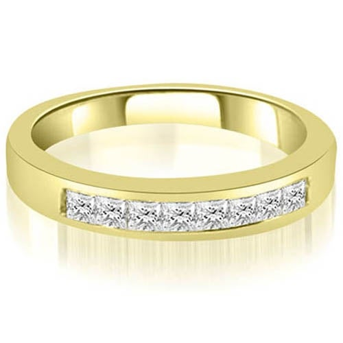 0.40 cttw. 14K Yellow Gold Channel Set Princess Cut Diamond Wedding Band