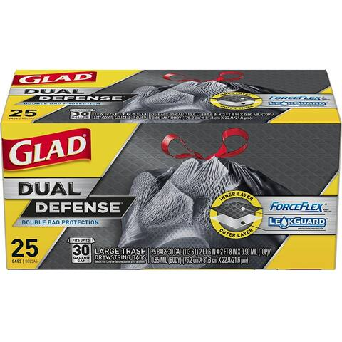 Glad 70359 ForceFlex Dual Defense Large Drawstring Trash Bags, 30 Gallon, 25 Ct