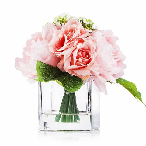 Enova Home Artificial Silk Roses Mixed Fake Flowers Arrangement in Cube Glass Vase with Faux Water for Home Office Decoration