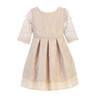 Sweet Kids Little Girls Champagne Vintage Lace Pleated Occasion Dress 2T-6