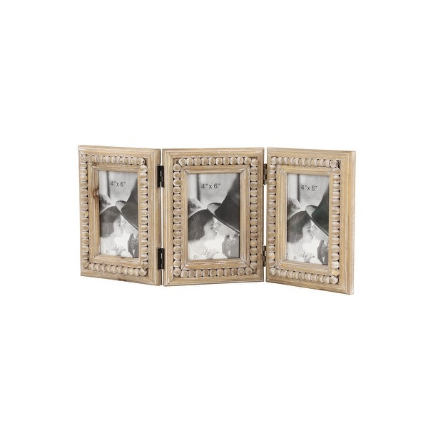 Natural Wood 3 Photo Folding Picture Frame w Decorative Wood Bead. Opens flyout.