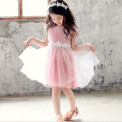Girls Lace Pink Dress with Flowers Added