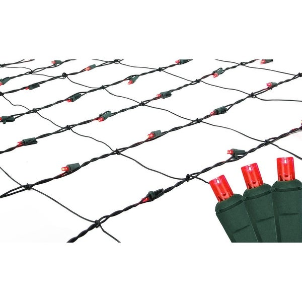 Set of 150 Red LED Net Mesh Christmas Lights - Green Wire