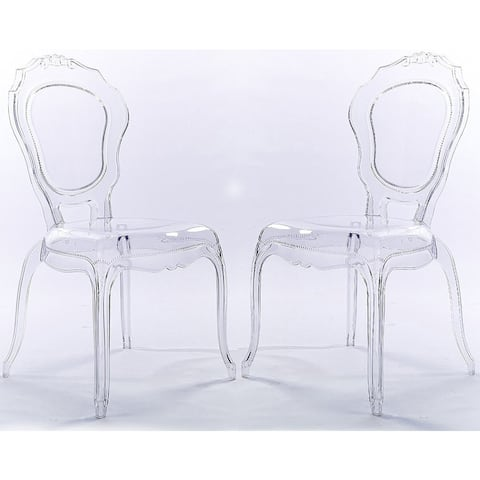 2xhome Set of 2 Stacking Side Dining Chairs Molded Modern Transparent Crystal Living Room Desk Kitchen Bedroom