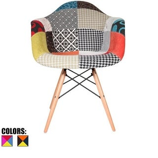 2xhome Multi-color Eames Modern Style Wood Leg Armchair Featuring Multi-Pattern Patchwork Fabric