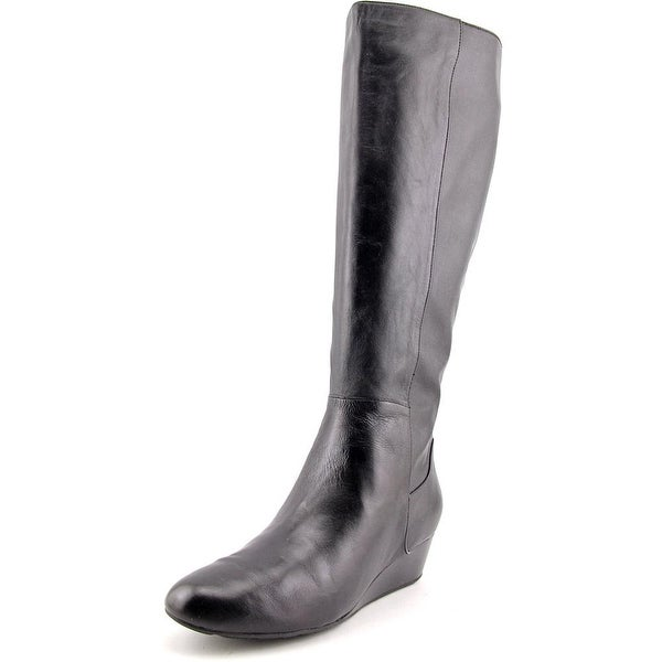 52aa58661d5 Cole Haan Tali Grand Tall BT40 Women Pointed Toe Leather Black Knee High  Boot