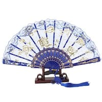 Floral Print Lace Edge Chinese Knot Folding Hand Fan w Holder