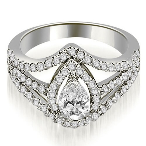 1.65 cttw. 14K White Gold Halo Pear Cut Diamond Engagement Diamond Ring
