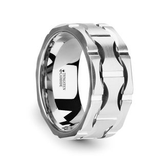 THORSTEN - KANYE White Tungsten Carbide Wedding Band with Crescent Pattern and Brushed Finish - 10mm