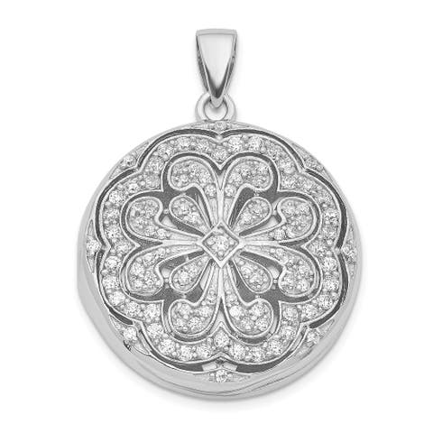 Sterling Silver CZ Circle with Flower Design Locket Pendant on 18-inch Cable Chain By Versil