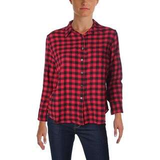 Denim & Supply Ralph Lauren Womens Juniors Button-Down Top Plaid Cotton