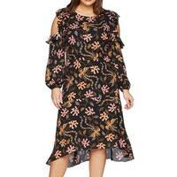 RACHEL Rachel Roy Black Women's 22W Plus Cold-Shoulder Maxi Dress