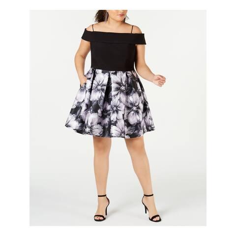 R&M RICHARDS Black Sleeveless Knee Length Fit + Flare Dress Size 16W