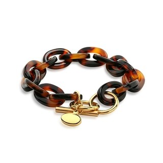 Bling Jewelry Acrylic Tortoise Shell Link Gold Plated Steel Bracelet